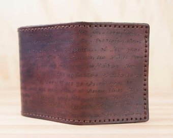 Personalized Mens Leather Trifold Wallet - Smokey pattern in mahogany - Custom Inscription - Handwritten