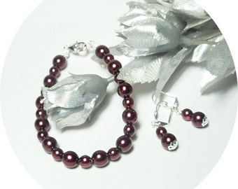 Burgundy Bracelet and Earrings Set, Burgundy Jewelry, Bridesmaid Set, Burgundy Pearl Jewelry, Bridal Accessories, Holiday Jewelry, Pearls