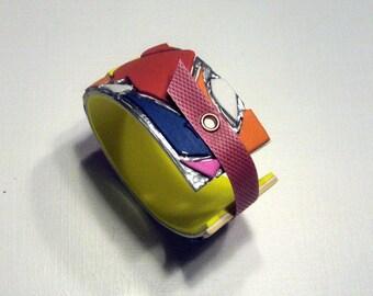 Paper bangle/paper jewelry/bold cuff colorfull