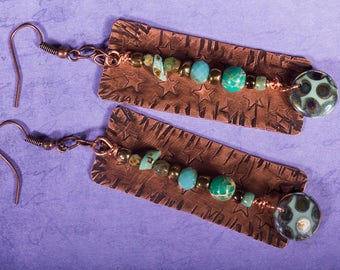 Starry copper earrings with blue beads