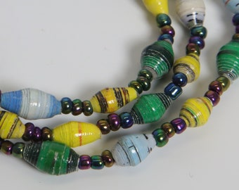 Paper Bracelet Single Stretch/Multi-Color yellow,green,blue/MED/Recycled/JJ-BR-1