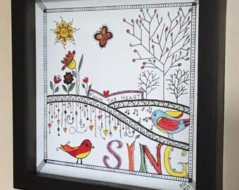 Sing - Original Zentangle Type Drawing in Frame
