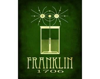 Benjamin Franklin 16x20 Science Art, Rock Star Scientist Poster, Ben Franklin Electricity Diagram, Scientific Illustration and School Decor