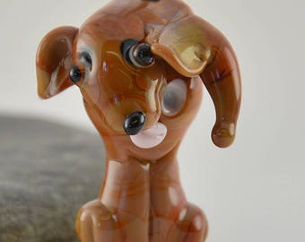 TALK to the tail - Dog whimiscal focal glass lampwork bead, collectible dog bead, Izzybeads SRA