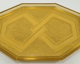 Yellow glass tray, yellow tray, glass tray, art deco tray, vintage tray