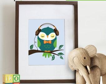 Owl Print, Owl Hipster, Owl in glasses, Owl art, owls, Owl Nursery, Owl family, Nursery Print, Item 044