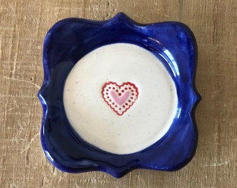 Heart Ring Dish, Wedding Ring Dish, Something Blue, Blue Ring Dish, Handmade Pottery, Pink and Red Heart, Square Ring Dish, Gift For Her