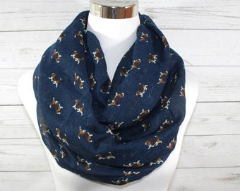 Beagle Print Scarf, Navy Blue Dog Print Scarf, Infinity Loop Scarf, Year Round Accessory, Scarf for Dog Lovers
