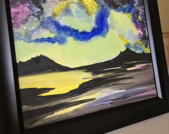 Abstract green, yellow, blue and purple dark starry night sky watercolor painting