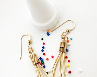 Gold Wire Wrap Whisk Dangle Earrings - Baking and Cooks Jewelry - Gift Ideas For Chefs