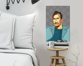 "Portrait ""John |o4"" - Tribute To John Steinbeck - FRAMED ART, Literature, iconArt, Personalized Gift, Name, Book Lover, Gift, For Women, For"