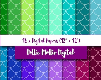 Fish scale digital papers / mermaid theme for mermaid birthday party invites, birthday cards, scrapbooking and papercraft. Marine colours.