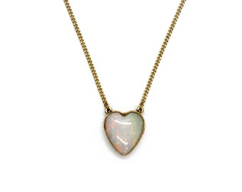 Victorian Opal Heart Pendant Necklace