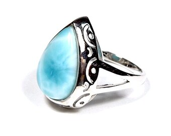 12x17mm High Quality Genuine AAA Dominican Larimar Inlay 925 Sterling Silver Ring size 9