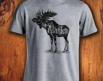 Men's Tshirt, Alaska Tshirt, alaska state shirt, moose shirt, alaska moose shirt, moose tshirt, for him, christmas gift, stocking stuffer