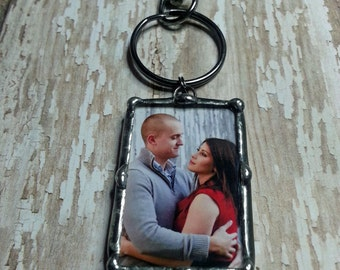 Personalized, Photo Charm, Keychain, Engagement Gift, Soldered Glass, For the Groom, Picture Frame Pendant, Bridal Keepsake