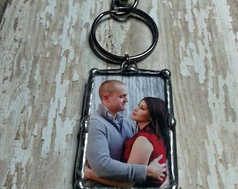 Personnalisé, Photo charme, porte-clés, cadeau de fiançailles, verre soudé, pour le marié, photo cadre pendentif, souvenir de mariage