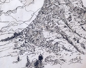"""Ink Sketch - Print Titled """"The Mountain's Call"""""""