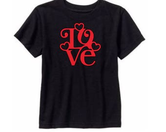 Love Heart Kids Toddler Children T Shirt Valentines Day Many Sizes Colors Custom Jenuine Crafts