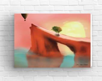FREE SHIPPING, Cliff canvas print, home decor, digital art, housewarming gift, wall art, wall canvas art, wall decor, ocean painting