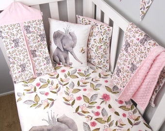 Pink Floral Elephant Nursery set // Pink Elephant Boho crib set