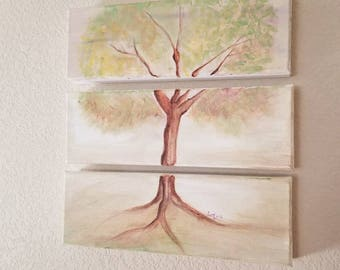 Tree Tryptic Painting