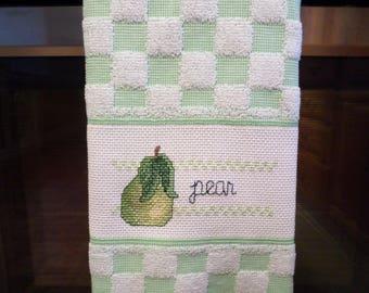 Green & White Checker Pear Kitchen Towel