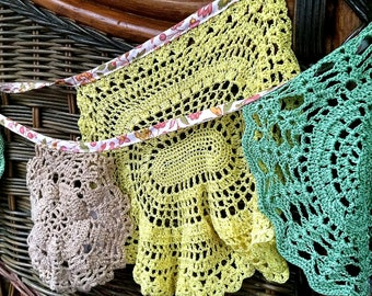 Pretty ECO  Vintage upcycled Doily Bunting