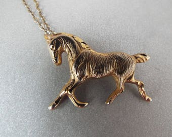 "gold filled polished horse charm pendant necklace 1/20 14K GF 18"" chain"