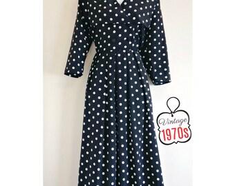 Vintage Polka Dot Dress Buttons Sailor Collar 70s Nautical 50s Retro Midi Size Medium