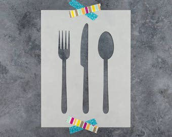 Knife Fork Spoon Stencil - Reusable DIY Craft Stencils of a Knife, Spoon, and Fork