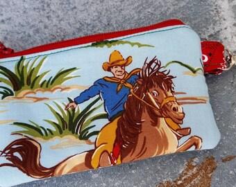 Cowboy Coin Purse, Boys Horse Zipper Wallet, Western Change Purse, Kids Coin Purse, Horse Zipper Wallet