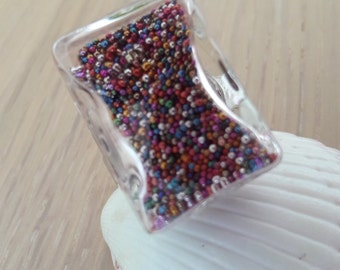 Mothers day glass microbeads multicolorescadeau rectangular ring