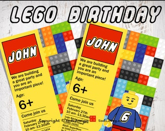 Birthday party invitation - Lego Bricks inspired Birthday Party Invitation - Printable digital file