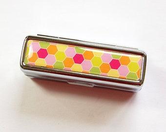 Lipstick holder, Lipstick case, lipstick travel case, Lipbalm Case, lipstick case with mirror, gift for her, Bright colors, Honeycomb (4864)