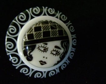 Flapper Girl Button Rings
