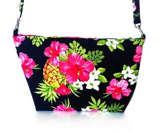 Tropical Hibiscus and Pineapple print handbag