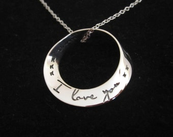 I Love you xx I Love you more sterling silver pendant + chain necklace, Love, friendship,family necklace