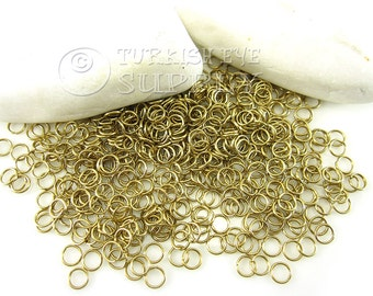 250 Raw Brass 5x1mm Jump Rings, JumpRing Connector, Brass Jumpring, Open Jump Rings, Raw Brass Findings