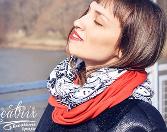 Red Scarf, Women Red Scarf, Black And White Scarf, Multicolor Scarf, Infinity Scarf, Women Scarves, Red Snood, CreatrixByJovana