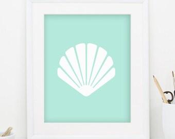 Seashell Print Sea Shell Print Teal Wall Decor Seashell Art Sea Shell Art Nautical Print Nautical Decor Nautical Nursery Decor 0090