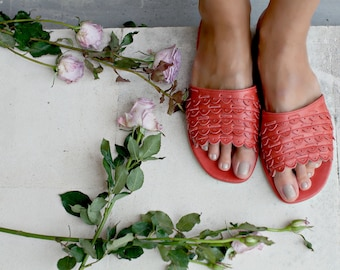 PALERMO. Red Leather sandals / red leather slides shoes / red shoes / slides women / red sandals. Sizes 35-43. Available in other colors.