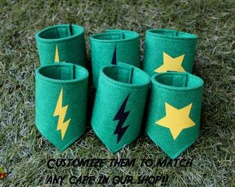 Superhero Cuffs, Superhero Wristbands, Superhero cape accessories, green wrist cuffs, superhero costume, green felt, superhero capes, party