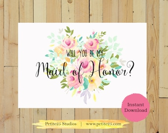 Will You Be My Maid of Honor Printable, Wedding Card, Printable, Bridesmaid Proposal, DIY Wedding, Digital Download, Instant Download