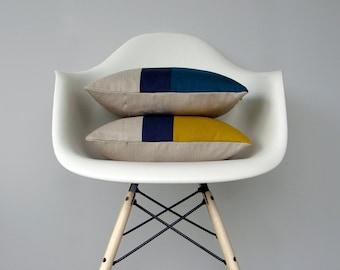 CUSTOM Color Block Pillow (Set of 2)   Original 12x16 Design by JillianReneDecor   Modern Home Decor   Mustard Yellow   Teal   Colorblock