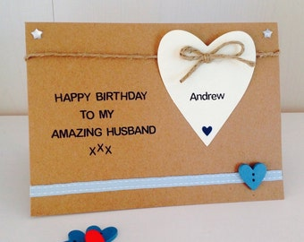 Fiance birthday card etsy personalised amazing husband boyfriend fiance handmade birthday card husband birthday card fiance bookmarktalkfo Image collections