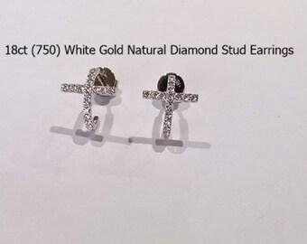 18ct 18k 750 White Gold Natural Diamond Stud Earrings