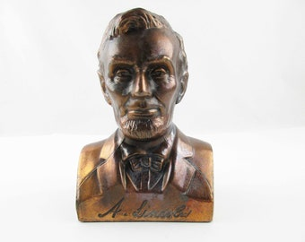 Abraham Lincoln Bank - 3-D Portrait of 'A. Lincoln' - Great Detail - Money Bank - Faux Bronze Bank  - Coin Bank