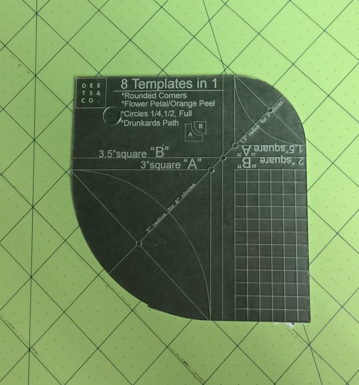 8-in-1 quilting template, ruler, Drunkards Path, circle, half-circle ...
