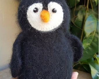 Fuzzy Penguin with an Orange Beak--Hand knit and Felted